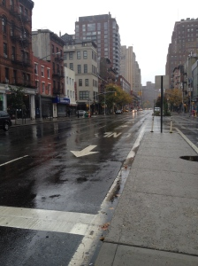 Empty Eighth Avenue before the storm